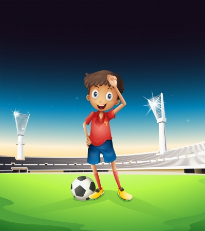 Illustration of a field with a soccer player in a red uniform