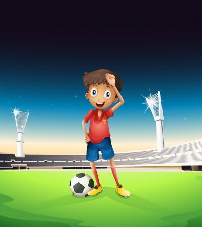 cancha de futbol: Ilustraci�n de un campo con un jugador de f�tbol en un uniforme rojo Vectores