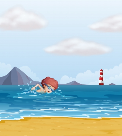 lake shore: Illustration of a child swimming at the beach Illustration