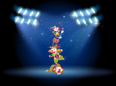 Illustration of three clowns performing on the stage with spotlights  Vector