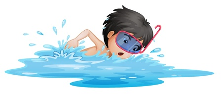 swimming goggles: Illustration of a little boy swimming on a white background Illustration