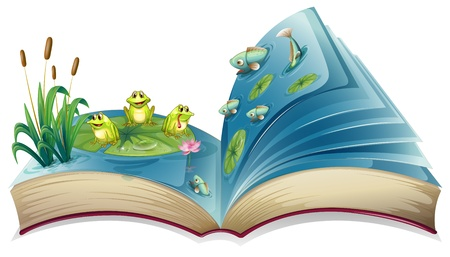 storyteller: Illustration of a book with an image of the frogs and fishes in the pond  on a white background