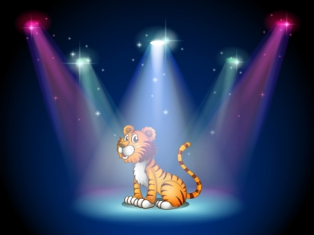 centerstage: Illustration of a tiger sitting on the stage with spotlights