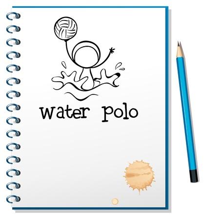 waterpolo: Ilustración de un cuaderno con un dibujo de un niño jugando waterpolo en un fondo blanco Vectores