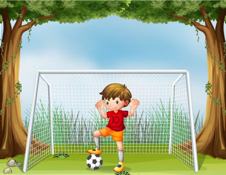goal kick: Illustration of a little soccer player in his red uniform Illustration