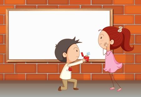 proposal of marriage: Illustrazione di una proposta di matrimonio vicino al bordo vuoto Vettoriali