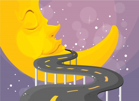 curve road: Illustration of a curve road with a moon  Illustration
