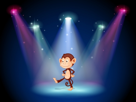 Illustration of a monkey dancing on the stage with spotlights Vector