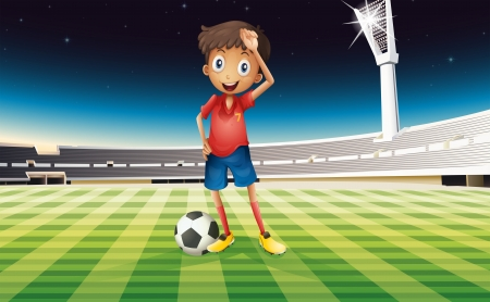outdoor seating: Illustration of a boy with a soccer ball standing in the soccer field  Illustration