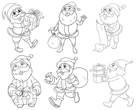 occassion: Illustration of the different drawings of Santa Claus giving gifts on a white background Illustration