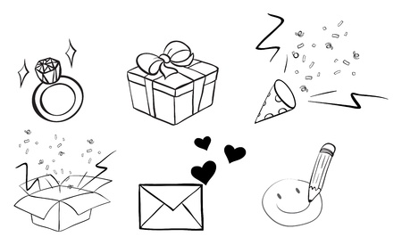 Illustration of the different doodle designs on a white background Vector