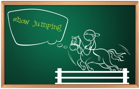 Illustration of a blackboard with a drawing of a boy performing show jumping on a white background  Vector