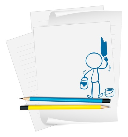 Illustration of a paper with an image of a man painting on a white background Vector