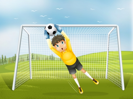 Illustration of a football catcher in a yellow uniform Stock Vector - 19389682