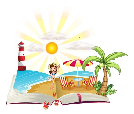 Illustration of a book with an image of a beach on a white background  Illustration
