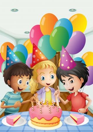 girotondo bambini: Illustrazione dei tre bambini che celebrano un compleanno su uno sfondo bianco
