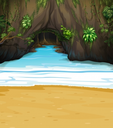 Illustration of a big cave Vector