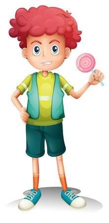 kids eat: Illustrtion of a boy holding a lollipop on a white background  Illustration