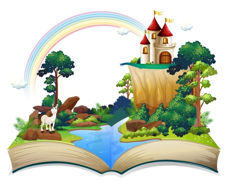 stories: Illustration of a book with a castle at the forest on a white background Illustration