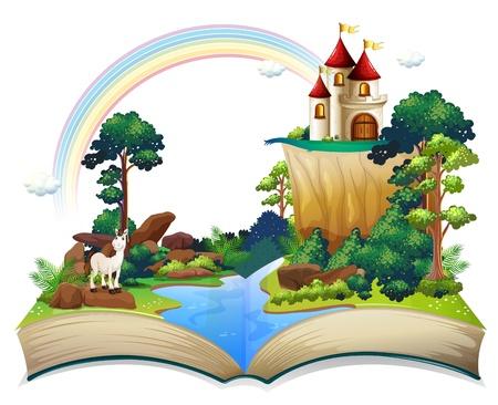 story: Ilustraci�n de un libro con un castillo en el bosque sobre un fondo blanco