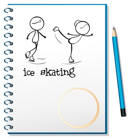 Illustration of a  notebook with an image of two people ice skating on a white background Stock Vector - 19389459