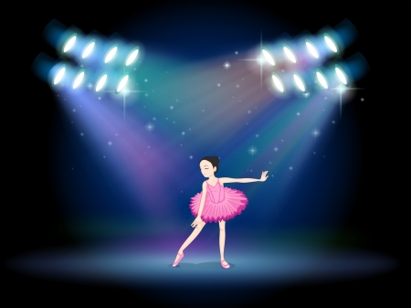 Illustration of a young girl dancing ballet with spotlights Vector