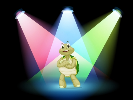 stageplay: Illustration of a turtle standing at the stage Illustration
