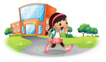 school girl uniform: Illustrazione di uno studente carino andare a casa da scuola su uno sfondo bianco