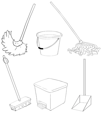 Illustration of the silhouettes of the different cleaning materials Vector