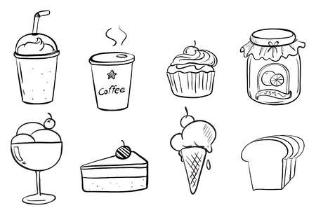 cone cake cone: Illustration of the different foods with drinks on a white background
