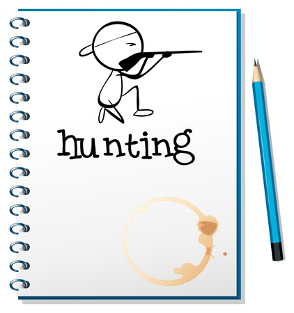 Illustration of a notebook with a man hunting at the cover page on a white background Stock Vector - 19389426