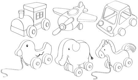 Ilustración de los diseños del doodle de juguetes sobre un fondo blanco