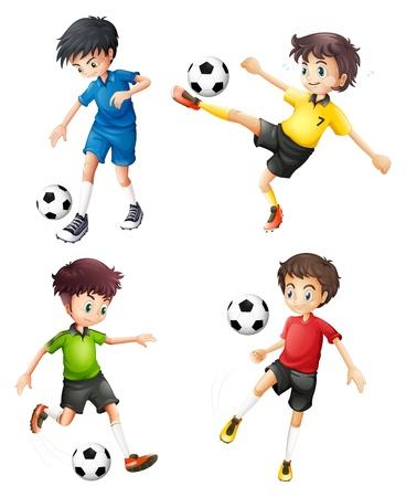 jugadores de soccer: Ilustraci�n de los cuatro jugadores de f�tbol de diferentes uniformes sobre un fondo blanco