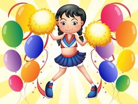 cheer leader: Ilustraci�n de un joven cheerer en el medio de los globos sobre un fondo blanco