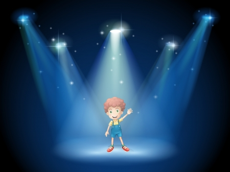 Illustration of a boy waving his hand at the stage with spotlights Stock Vector - 19389817