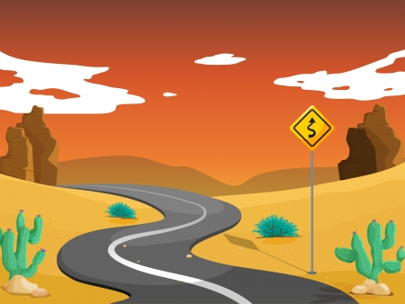 Illustration of a desert with a curve road Vector