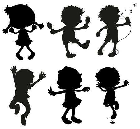 singing silhouette: Illustration of the images of kids in black and gray colors on a white background