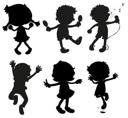 cantando: Ilustración de las imágenes de niños en los colores negro y gris sobre un fondo blanco
