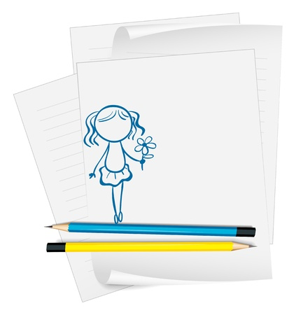office supply: Illustration of a paper with a drawing of a girl holding a flower on a white background