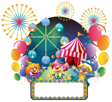 Illustration of the three clowns in front of a carnival with an empty signage on a white background  Stock Vector - 19389975