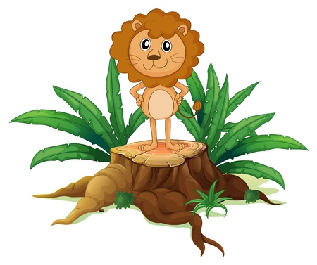 lllustration: lllustration of a little lion standing on a stump with leaves on a white background
