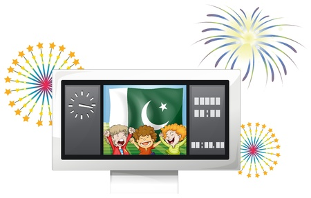 pakistan flag: Illustration of the three kids inside the scoreboard in front of the Pakistan flag on a white background