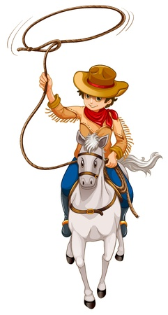 cowboy on horse: Illustration of a boy riding a horse with a hat and a rope on a white background