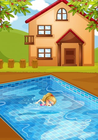 Illustration of a girl swimming at the pool  Vector