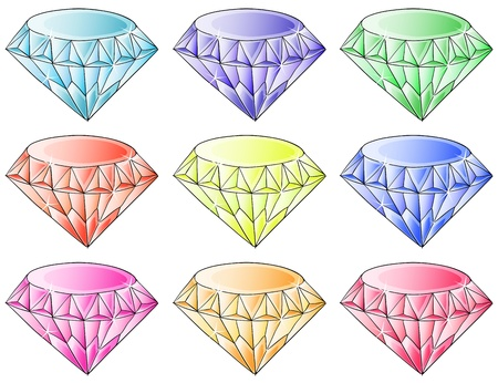 violet red: Illustration of the different colors of diamonds on a white background