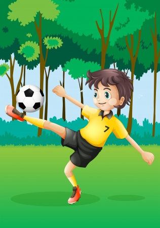 Illustration of a boy playing soccer at the forest Illustration