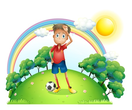 Illustration of a tired soccer player at the top of the hill on a white background Stock Vector - 19389809