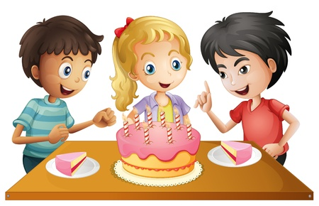melaware: Illustration of a table with cake surrounded by three kids on a white background