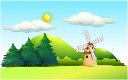 Illustration of a windmill in the field Vector