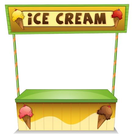 bancarella: Illustrazione di un gelato in piedi su uno sfondo bianco Vettoriali